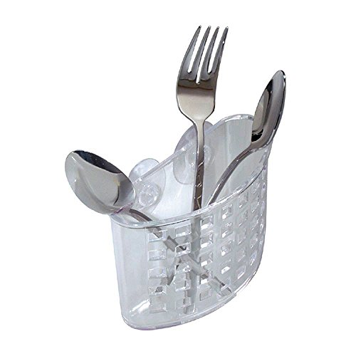 """""""ABC Products"""" - InterDesign ~ Suction Cup - Clear Plastic Kitchen Flatware - Basket Holder (Also Can Be Used in the Bathroom)sc"""