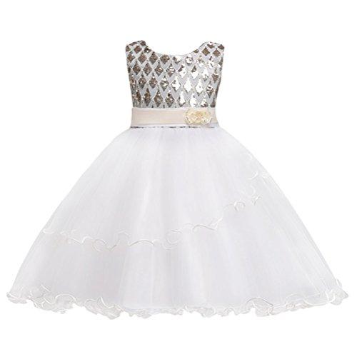 Zhhlinyuan Sin mangas Chicas Sweet Lace Puff Skirt Niños Boda Fiesta Performance Sequins Princesa Vestidos: Amazon.es: Ropa y accesorios