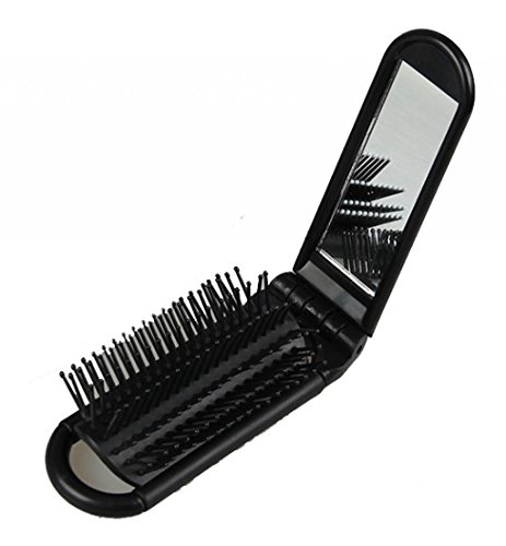 LOUISE MAELYS Portable Folding Hair Brush with Mirror Compact Pocket Hair Comb for Travel Gift Idea Pocket Hair Brush