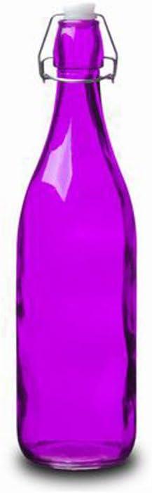 Botella Cristal 1L Morada con Tapón Estilo Tradicional Hogarymás