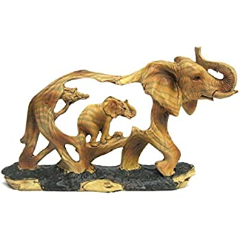 Superior Elephant And Baby Walking In The Wild Faux Wood Figurine
