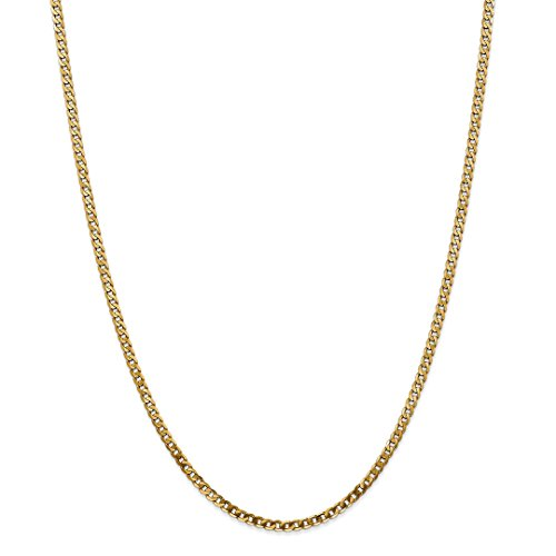 ICE CARATS 14kt Yellow Gold 2.9mm Beveled Link Curb Necklace Chain Pendant Charm Flat Fine Jewelry Ideal Gifts For Women Gift Set From Heart 14kt Gold Curb Link Necklace