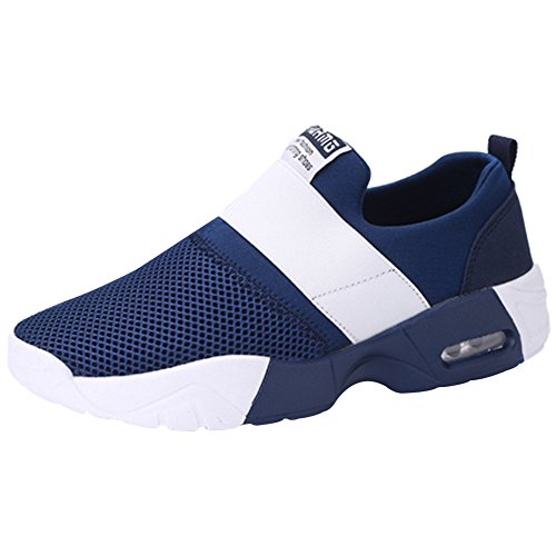 Wealsex Men's Women's Air Trainers Multi Sport Running Cushion Shoes Mesh Breathable Fitness Shoes Gym Athletic Jogging Sneakers Blue cdujXfp