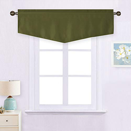 NICETOWN Blackout Window Valance for Bedroom - Ascot Rod Pocket Short Valance Thermal Insulated Window Tier for Basement/Kitchen, 52W by 18L inches, Olive, 1 Pack (Window Bay Window Treatments Valances)