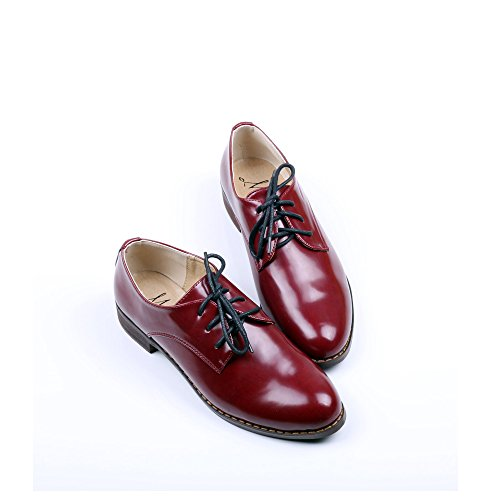 OUOUVALLEY Womens Oxford Patent Faux Leather Dress Shoes Red 2SIHiwAEb