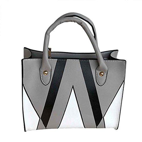Republe Las mujeres de moda de cuero de la PU de los bolsos chica sencilla bolsos de hombro Messenger Bag lady color de costura Cruzado Casual gris claro