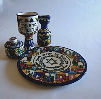 Rimmon Havdallah Set Armenian Ceramics Colourful Jerusalem Views Design