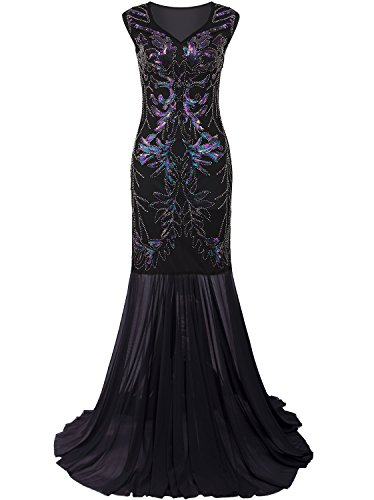 Vijiv 1920s Long Prom Dresses V Neck Beaded Sequin Gatsby Maxi Evening Dress,X-Large,Black (Hand Beaded Formal Dress)