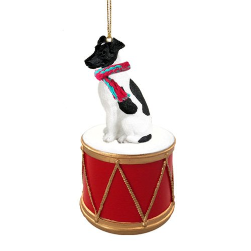 Little Drummer Smooth Fox Terrier Black & White Christmas Ornament - Hand Painted - (Black Fox Terrier Ornaments)