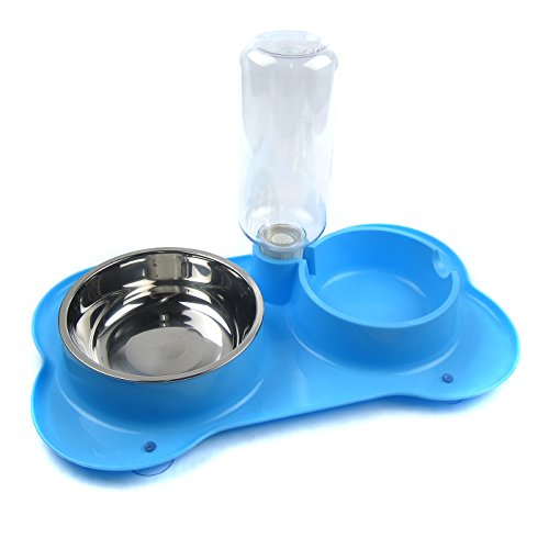 Alfie Pet - Dustin Pet Food Bowl and Water Dispensor with Skidstop Silicone Mat - Color: Blue