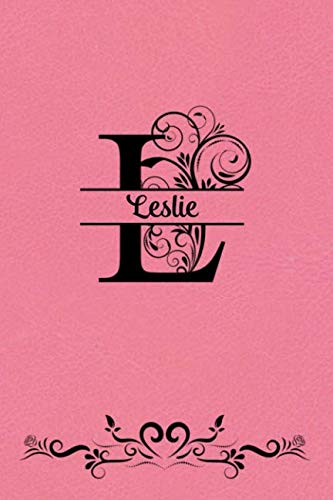Split Letter Personalized Name Journal - Leslie: Elegant Flourish Capital Letter on Coral Leather Look Background