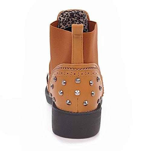COOLCEPT Damen Stylische Kurz Stiefel Ohne Verschluss Yellow-Brown