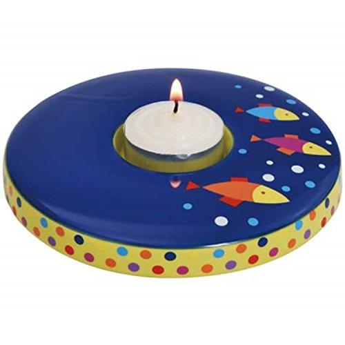 - WL SS-WL-22366, 4.5 Inch Dark Blue Tropical Fish and Polka Dot Tea Light Candle Holder, 4.5