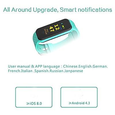 Kwok IP67 Waterproof Colorful LED Touchscreen Menu Display Bluetooth Smart Bracelet #UUB