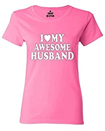 I Love My Awesome Husband Women T Shirt Couple Shirts Large Azalea Pink
