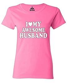I Love My Awesome Husband Women T Shirt Couple Shirts Large Azalea Pink