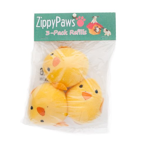 ZippyPaws 3-Pack Squeaky Replacement Burrow Toys for Dogs, Medium, (Chick Dog Toy)