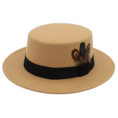 (SANHENGMIAO US for Ladies Hats New Pork Pie Hat Men Tan Wool Fedora Hats Winter Bowler Women Brown Felt Fedoras Hat Ribbon Bowknot Top Wool Caps Wholesale (Color : Khaki,)