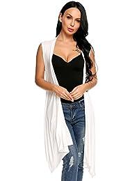 Meaneor Women's Asymetric Hem Sleeveless Open Front Drape Cardigan Sweater Vest