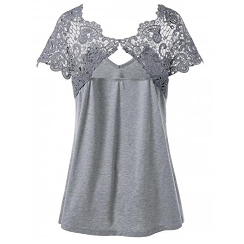 TOTOD Womens Sexy Fashion V-Neck Plus Chiffon Size Lace Short Sleeve Trim Cutwork T-Shirt Tops (XXXL, ()