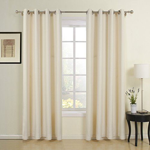 IYUEGO Beige Solid Jacquard Neoclassical Grommet Top Lining Blackout Curtains Draperies With (Poly Octagon Window)