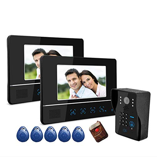 Video Door Phone Intercome Camera Doorbell Video Entry System Intercom Kit Touch Button Remote Unlock Night Vision Rainproof With Swiping/Wireless Remote Control/Password Unlocking 3 (Plug In Cordless Phone)