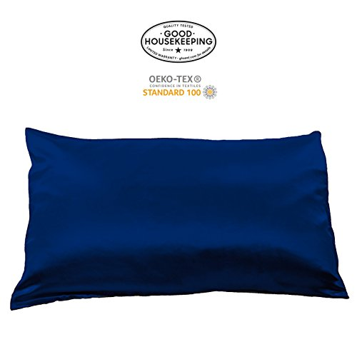 Fishers Finery 19mm 100% Pure Mulberry Silk Pillowcase Good Housekeeping Quality Tested (Navy, Q)