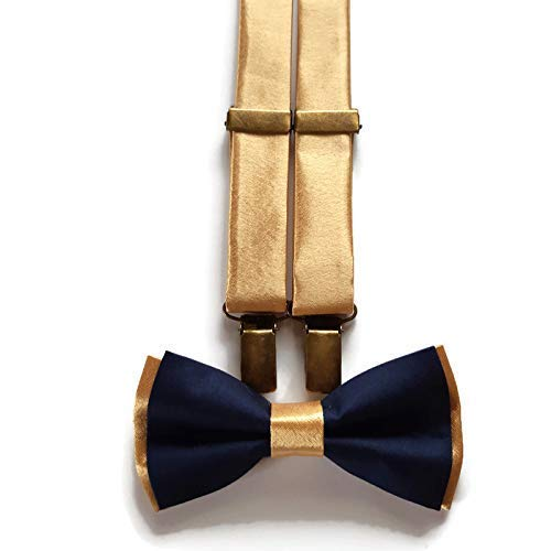 Navy Blue Men/'s Matching Skinny Y-Back Clip Suspender /& Pre-Tied Bow Tie