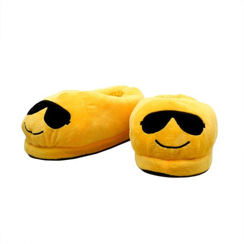 Hausschuhe Emoticon, Gr. 35-39 Unisex, Smiley mit Brille