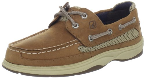 Sperry Lanyard Boat Shoe (Little Kid/Big Kid),Dark Tan/Navy,6 M US Big Kid (Sperry Top Sider Boys Billfish Boat Shoes)