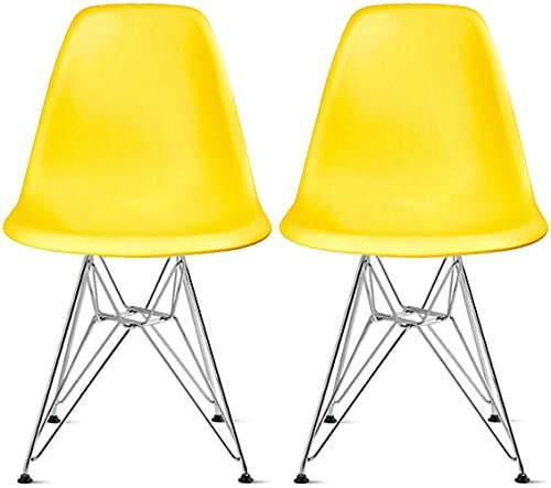 Amazon Com 2xhome Set Of 2 Yellow Desk Chair Mid Century Modern Plastic Molded Shell Assembled Chairs Chrome Wire Metal Eiffel Side Armless No Arms Dsw For Work Office Dining Living Kitchen