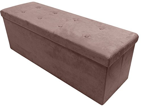 Sorbus Storage Ottoman Bench – Collapsible/Folding Bench Chest with Cover – Perfect Toy and Shoe Chest, Hope Chest, Pouffe Ottoman, Seat, Foot Rest, – Contemporary Faux Suede (Large, Chocolate) (Large Chocolate Brown Cushions)