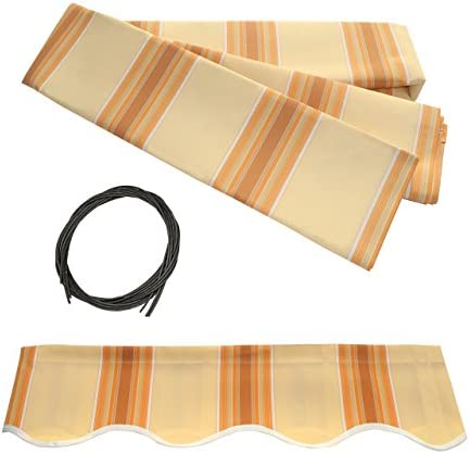 ALEKO FAB13X10MSTYEL315 Retractable Awning Fabric Replacement 13 x 10 Feet Multi-Stripe Yellow