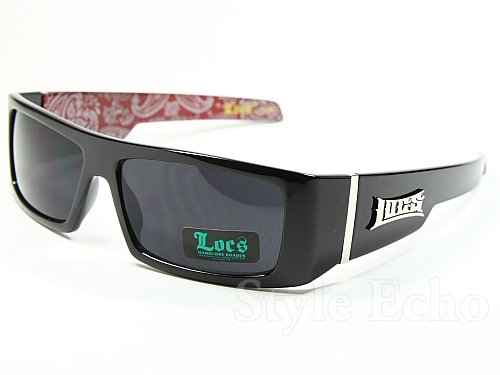 LOCS Black Harcore 58 Bandana Red Inside Sunglasses + Free Micro Fiber - Inside Sunglasses