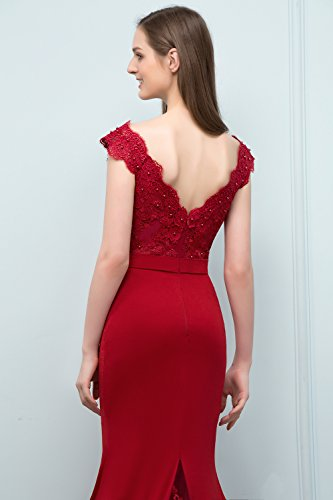 Elegant Meerjungfrau Hinten Misshow V Dress Prom Durchsichtig Damen Perle Rot Ausschnitt Abendkleid Yn7FBRq