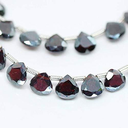 GemAbyss Beads Gemstone Red Almandine Garnet Faceted Heart Drop Gemstone Loose Beads Strand 4 Inch Long 6mm Code-MVG-27719