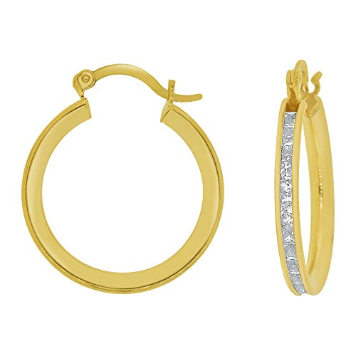 14k Yellow Gold, Round 3mm Wide Channel Set Created CZ Earring 16mm Inner Snap Down by GiveMeGold
