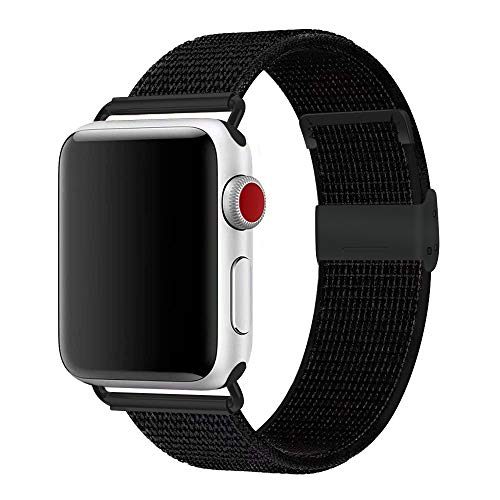 penen Watch Band 38mm 42mm Soft Nylon Watch Sport Loop Band Adjustable Closure Wrist Strap Breathable Woven Nylon Replacement Strap for Watch Series 3,2,1 (New Black, 42 mm)
