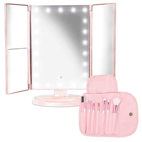 Lighted Makeup Mirror with Magnification 1x 2x 3x – Portable Cosmetic Trifold 22 LED Vanity Mirror with Touch Screen Switch, Dual Power Supply and 180 Degree Rotation – 7 Makeup Brushes Pouch Included