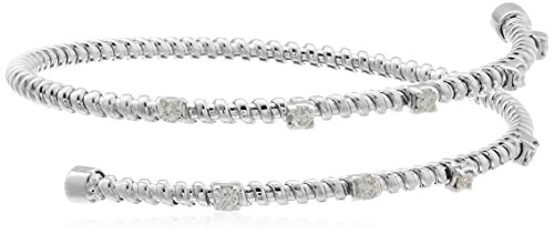 - 14k White Gold Two Row Diamond Bangle Bracelet (1/2cttw, I-J Color, I1 Clarity)