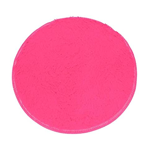 Bestpriceam Soft Bath Bedroom Floor Shower Round Mat Rug Non-slip (Hot Pink) (Gray And Pink Round Rug)