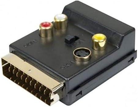Dexlan - Adaptador euroconector macho/hembra 3 x RCA + S-Vídeo Interruptor de señal entrada/salida: Amazon.es: Electrónica