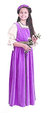 Museum Replicas Medieval Maiden Girls Overdress w/circlet Crown Renaissance Costume Halloween Dress (Youth Large)