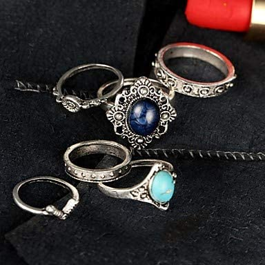 one Size Silver FSKLN 5Pcs//Set Midi Rings Unique Design Bohemian British Alloy Jewelry for Party Halloween Daily Casual 1 Set