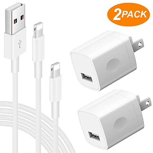 Replacement 2-Pack 5V USB Wall Charging Power Adapter + 2x 1 Meter Lightning USB Cables for Charge & Sync Compatible with Smartphone Devices X/8/7/6S/6/Plus/5SE/5S/ iPod 5 Nano 7 (White)
