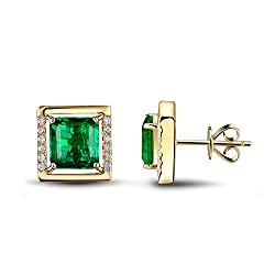 Rose Yellow Gold Diamond Emerald Earrings