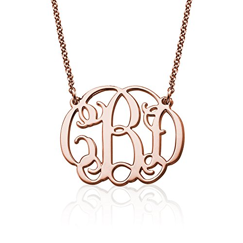 Monogram Fancy Necklace - Custom Made Pendant with any Initials Gift for Her