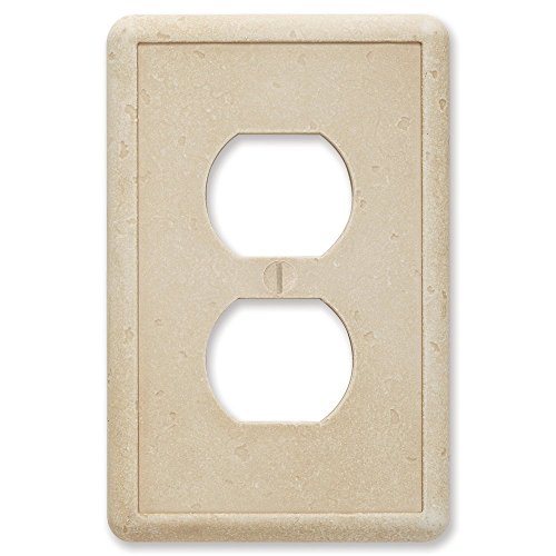 Questech Travertine Tumbled Textured Wall Plate Switch Plate Outlet Cover (Single Duplex)