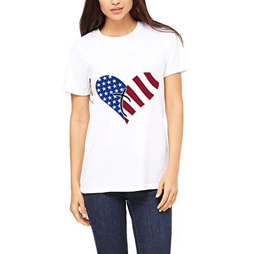 Ladies Fashion Independence Day Flag Print T-Shirt Round Collar Love Print Shirt Short Sleeve Top MEEYA White