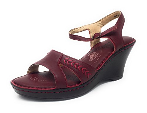 Hush Puppies Women's Indiana Peep Toe Leather Wedge Sandal Red nQ1KG